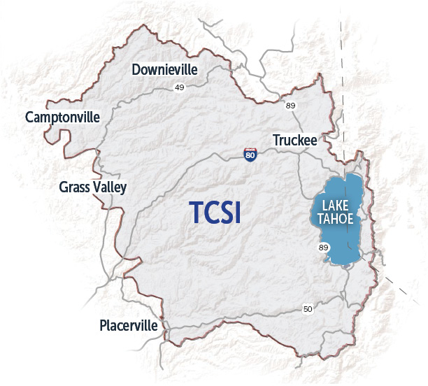 The TCSI boundary extends past Downieville to the north, past Truckee and the eastern shore of Lake Tahoe to the east, past Placerville to the south, and to Grass Valley and Camptonvile in the west.