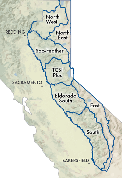 The geographies are located in the eastern portion of California, stretching from the Oregon border to just south of Bakersfield. On the west, they are bordered by Redding, Sacramento, and Bakersfield. From north to south the seven geographies are: North East, North West, Sacramento-Feather, TCSI Plus, East, Eldorado South, and South.