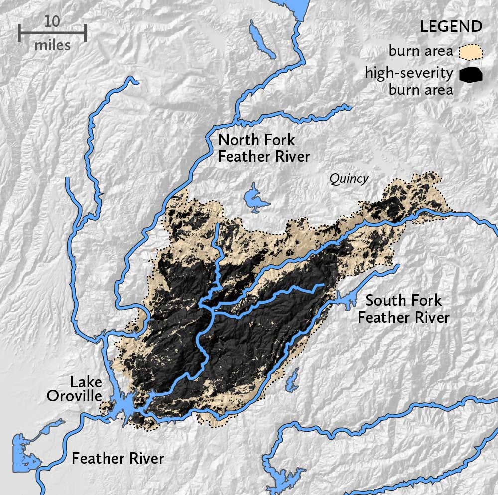 the fire burned on the east side of Lake Oroville, bordered by the north fork of the feather river to the north and west and the south fork of the feather river to the south and east. Most of the fire, concentrated in the center burned at high severity.