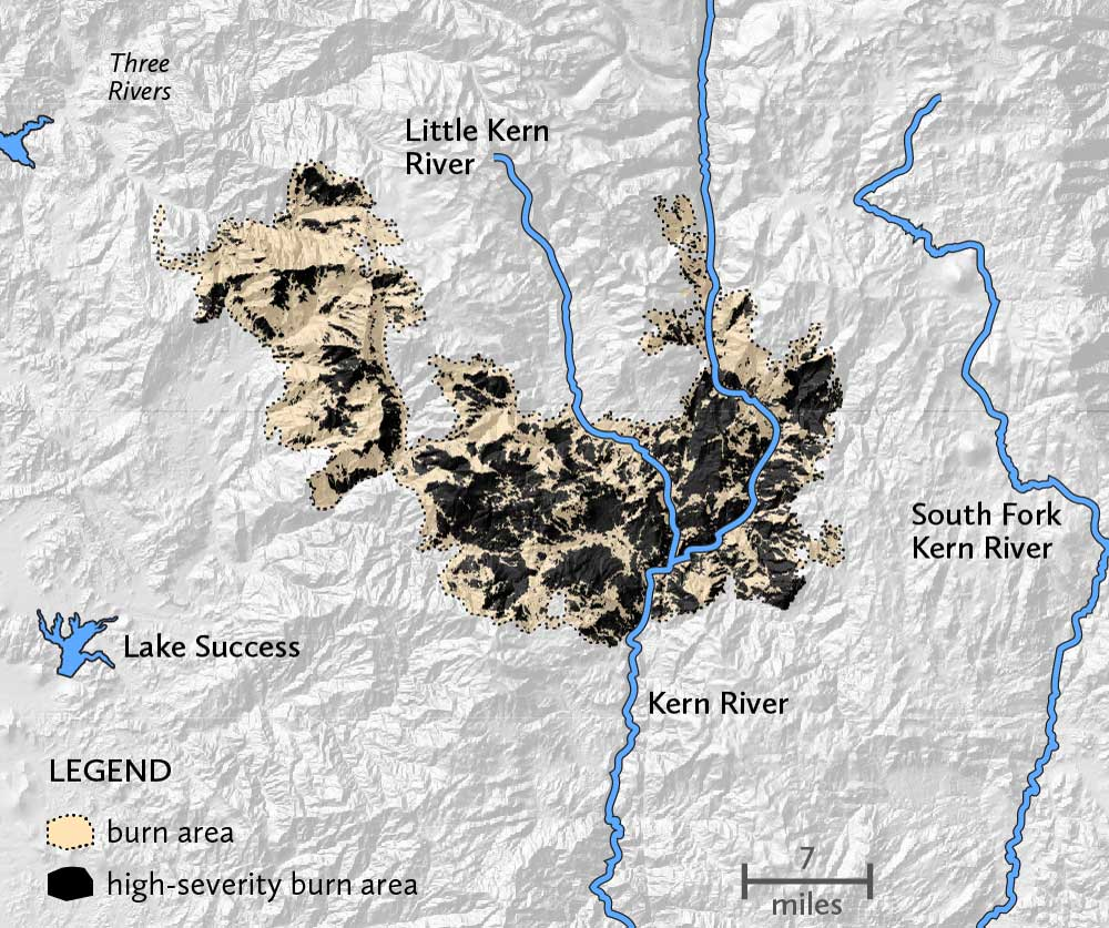 The SQF complex fire burned on both sides of the Kern River, near its headwaters. A majority of the fire burned at high severity in several large areas.