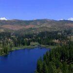 overlooking reservoir with trees surrounding it